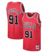 Chicago Bulls Mens 1997-98 Dennis Rodman 91# Red Hardwood Classics..
