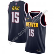 Denver Nuggets NBA Basketball Drakter 2019-20 Nikola Jokic 15# Marinen Icon Edition Swingman Drakt..