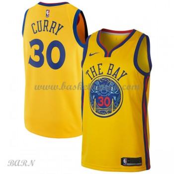 Barn Basketball Drakter Golden State Warriors 2018 Stephen Curry 30# City Edition Swingman