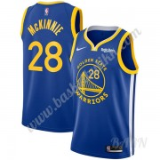 Barn Basketball Drakter Golden State Warriors 2019-20 Alfonzo McKinnie 28# Blå Icon Edition Swingman..