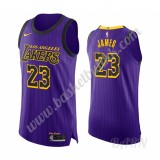 Barn Basketball Drakter Los Angeles Lakers 2019-20 LeBron James 23# Purple City Edition Swingman Drakt
