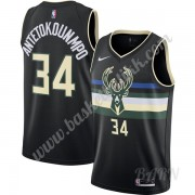 Barn Basketball Drakter Milwaukee Bucks 2019-20 Giannis Antetokounmpo 34# Svart Finished Statement Edition Swingman Drakt