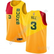 Barn Basketball Drakter Milwaukee Bucks 2019-20 George Hill 3# Gul City Edition Swingman Drakt..