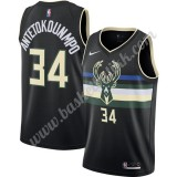 Milwaukee Bucks NBA Basketball Drakter 2019-20 Giannis Antetokounmpo 34# Svart Finished Statement Edition Swingman Drakt