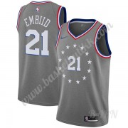 Barn Basketball Drakter Philadelphia 76ers 2019-20 Joel Embiid 21# Grå City Edition Swingman Drakt..