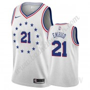 Barn Basketball Drakter Philadelphia 76ers 2019-20 Joel Embiid 21# Grå Earned Edition Swingman Drakt..