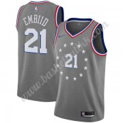 Philadelphia 76ers NBA Basketball Drakter 2019-20 Joel Embiid 21# Grå City Edition Swingman Drakt..
