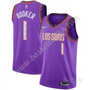 Barn Basketball Drakter Phoenix Suns 2019-20 Devin Booker 1# Purple City Edition Swingman Drakt..